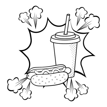 hot dog with soda paper cup pop art black and white vector illustration graphic design