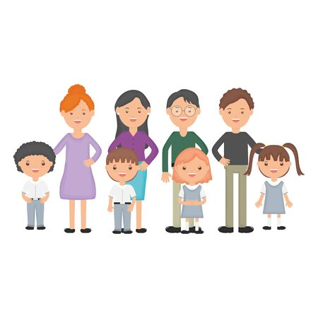 cute little students group with teachers vector illustration design