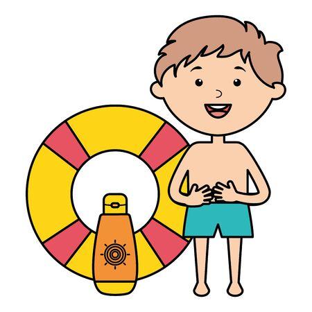 little boy with solar blocker and float vector illustration design  イラスト・ベクター素材