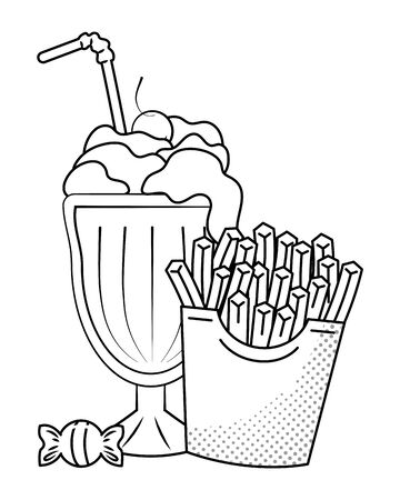 french fries and milk shake with straw and candy black and white vector illustration graphic design