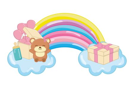 toy bear with feeding bottle and gift box with heart shaped balloon over cloud and rainbow vector illustration graphic design