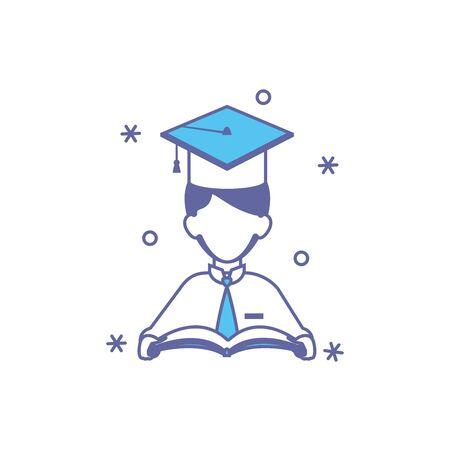 student boy with hat graduation fill style Ilustração