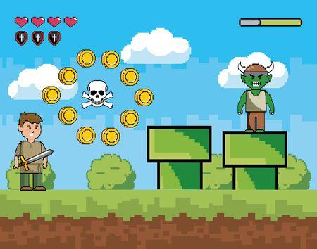 Mundo de juegos de arcade y diseño de escenas de píxeles.