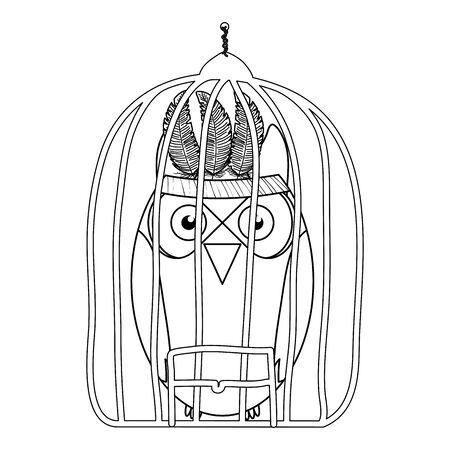 owl bird with feathers hat in cage bohemian style vector illustration design Ilustração