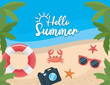 Palmen mit Schwimmer und Krabben mit Seesternen und Kamera am Strand zur Sommerplakatvektorillustration