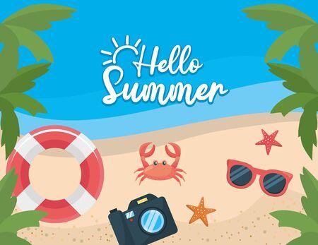 Palmeras con flotador y cangrejo con estrellas de mar y cámara en la playa para ilustración de vector de cartel de verano