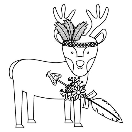 reindeer with feathers hat and arrow bohemian style vector illustration design