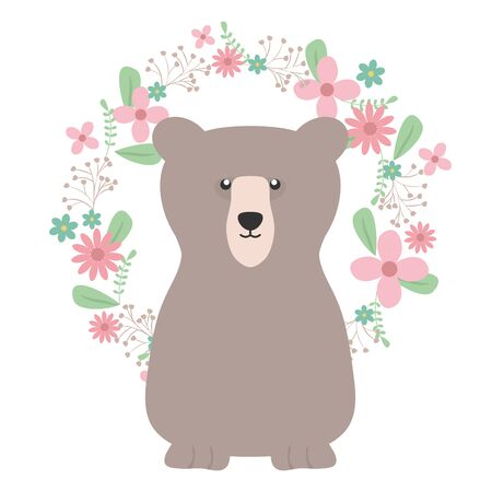 bear grizzly with floral decoration bohemian style Illustration
