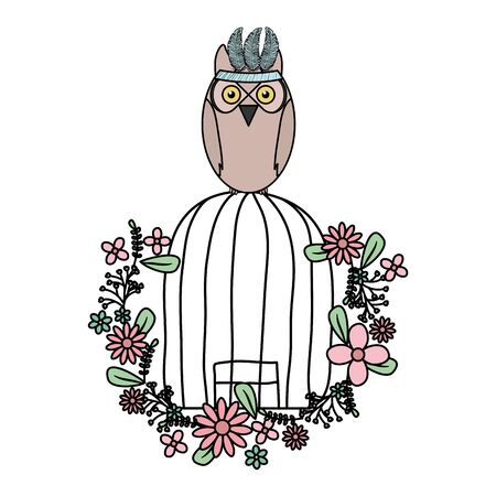owl bird with feathers hat and cage bohemian style vector illustration design