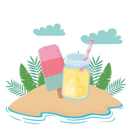 Pineapple juice and ice pops design