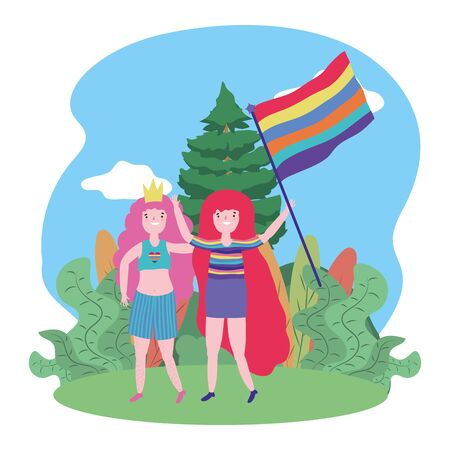 Women supporting lgtbi march design vector illustration