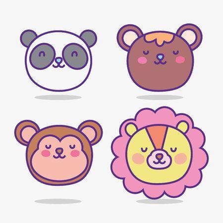 cute animals cartoon flat design
