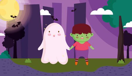 monster boy and ghost costume halloween vector illustration
