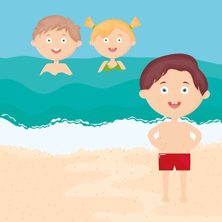 cute little kids with swimsuit on the beach characters vector illustration design