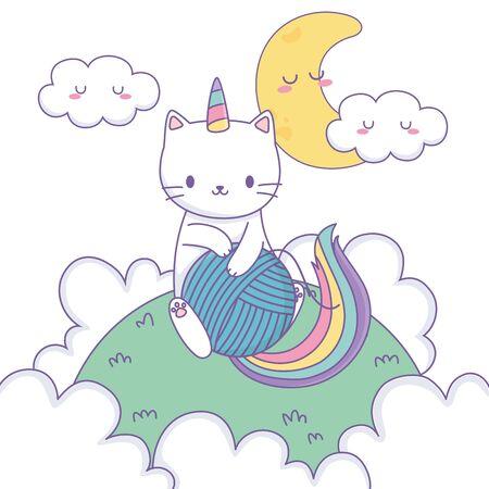 Diseño de dibujos animados de gato unicornio, cuento de hadas de fantasía mágica infancia y tema animal ilustración vectorial