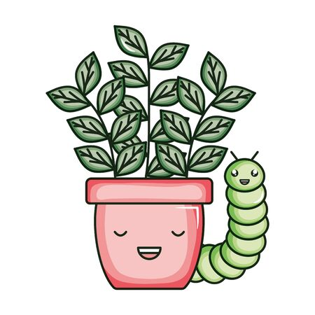 house plant in ceramic pot with worm kawaii style vector illustration design