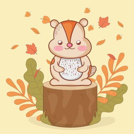 cute beaver foliage hello autumn vector illustration Ilustração