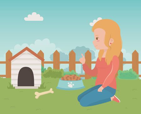House for mascot and girl cartoon design 矢量图像