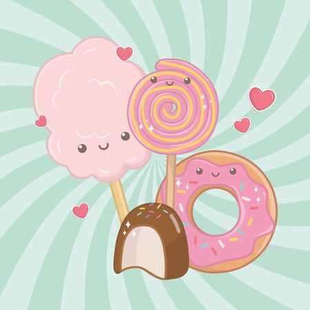 sweet cotton sugar and candies kawaii characters vector illustration design