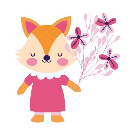 baby shower female fox with dress and flowers decoration vector illustration