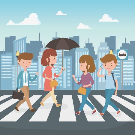 young people walking in the street characters vector illustration design Vectores