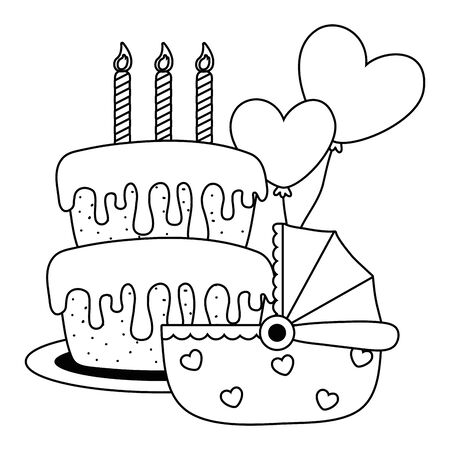 cradle with birthday cake in black and white Illustration