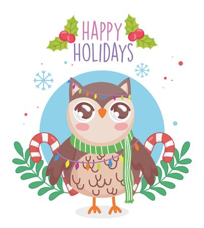 cute owl with scarf and candy canes branches merry christmas Illustration