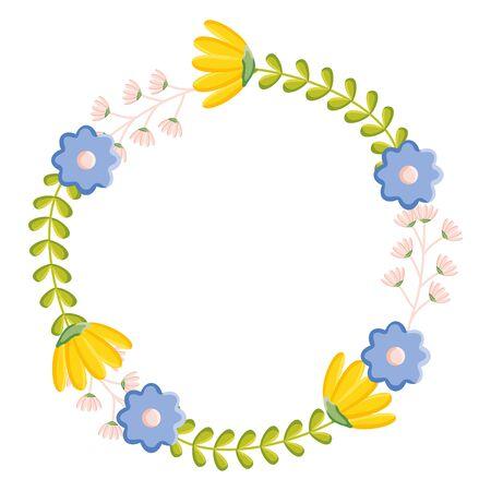 flowers garden plants circular frame vector illustration design