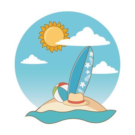 Summer and beach cute cartoons Vectores