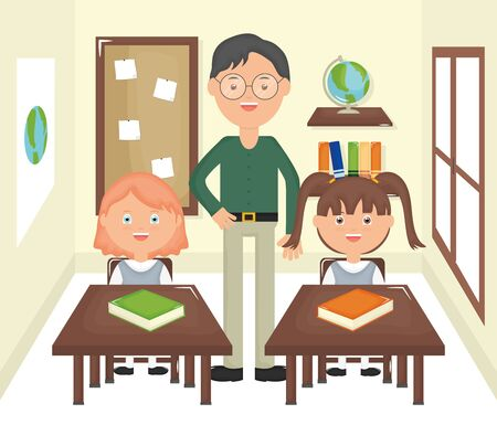 young male teacher with students in the classroom vector illustration design Vettoriali