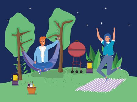 man in hammock jumping woman camping picnic Stock Illustratie