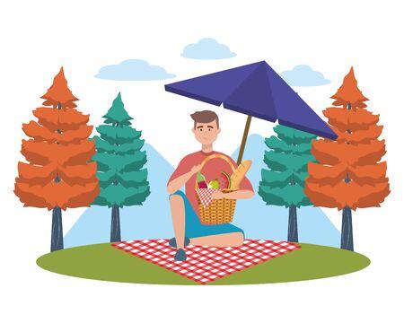Man cartoon having picnic design