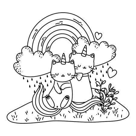 Unicorn cat cartoon couple vector design Vector Illustratie