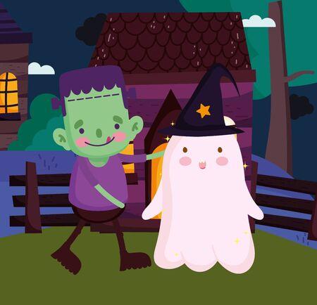 frankenstein and ghost with hat costume halloween vector illustration Ilustração