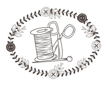 Scissor needle and thread of tailor shop design Ilustracje wektorowe