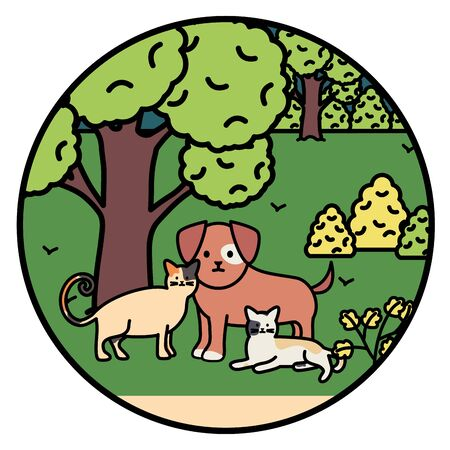 Cats and dog mascots in the park