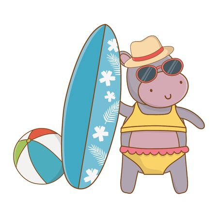 cute animal hippopotamus enjoying vacations and summer time, travel and relax cartoon vector illustration graphic design
