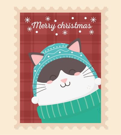 cute cat with sweater celebration happy christmas stamp vector illustration Çizim