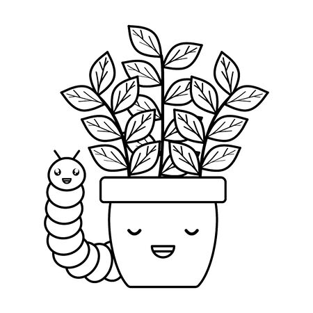 house plant in ceramic pot with worm kawaii style Illustration