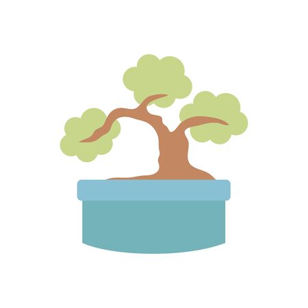 japanese bonsai tree plants flat icon vector illustration