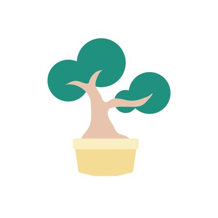 japanese bonsai tree plants flat icon