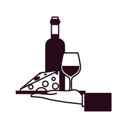 vassoio del cameriere con stile della linea del blocco di vino e formaggio