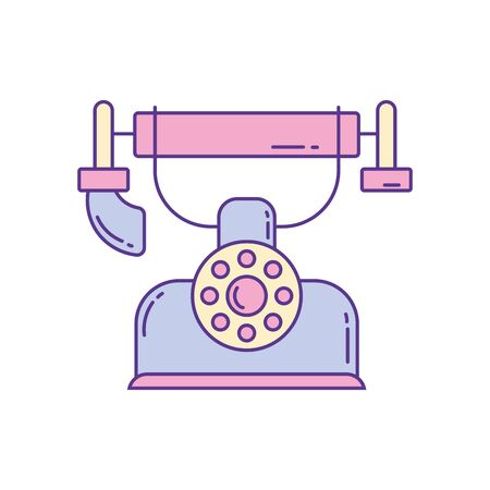 vintage telephone , phone fill and line vector illustration Foto de archivo - 137298046