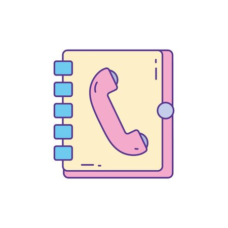 address book telephone , phone fill and line vector illustration