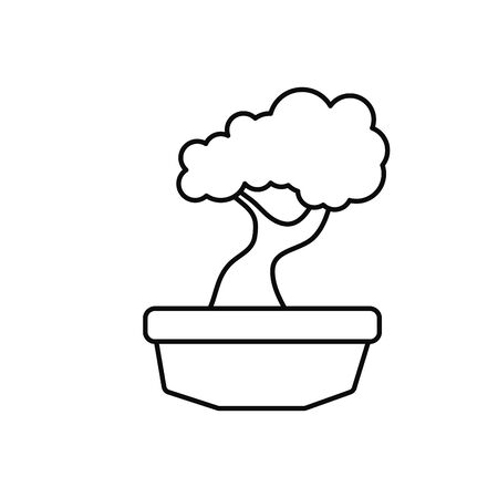japanese bonsai tree plants line style icon illustration Stock Illustratie