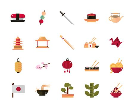 japanese culture traditional food accessory landmark and others icons