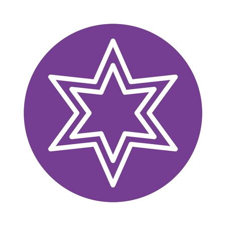 star six pointed block style icon vector illustration design