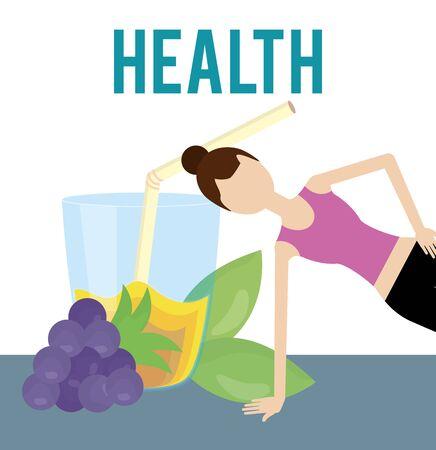 sporting woman grapes juice nutrition health food vector illustration Illustration