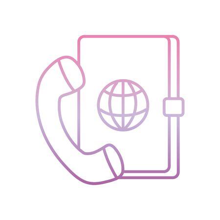 address book telephone , phone gradient icon vector illustration Ilustracje wektorowe