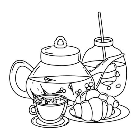 Isolated tea pot cup and bread design Vector Illustration